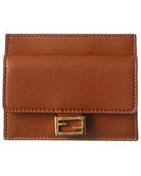 Fendi Leather Card Holder - Brown