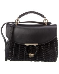 Ferragamo Margot Cord Small Woven Satchel - Black