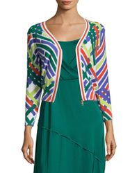 Tracy Reese Tipped Cotton Intarsia Cardigan - Green