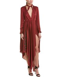 Off-White c/o Virgil Abloh Foulard Silk Maxi Dress Red Sz: S