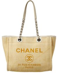 Chanel Yellow Canvas Large Deauville Tote - Multicolour