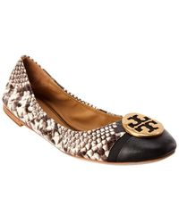 Tory Burch Minnie Cap-toe Travel Ballet Flats, Embossed Leather - Black