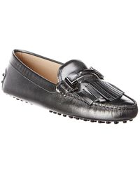 Tod's Gommino Fringed Double T Metallic Leather Loafer - Grey