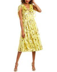 Prabal Gurung Cape Silk-blend Midi Dress - Yellow