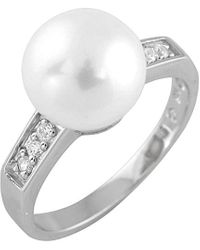 Splendid Silver 9-9.5mm Pearl Cz Ring - Metallic