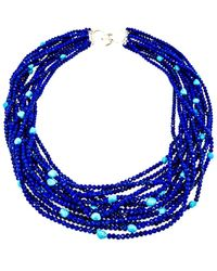 Arthur Marder Fine Jewelry Silver Gemstone Necklace - Blue
