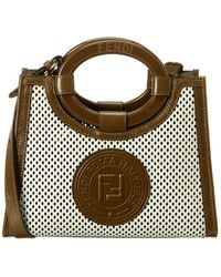 Fendi Runaway Ff Small Leather Tote - Brown