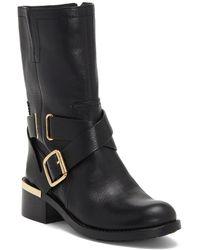 Vince Camuto Wethima Leather Block Heel Moto Boots - Black
