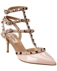 Valentino Rockstud Caged 65 Patent Ankle Strap Pump - Pink