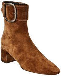 Saint Laurent Joplin 50 Suede Bootie - Brown