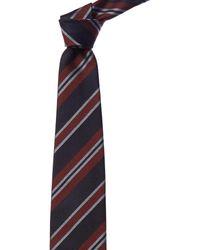 Brioni Blue & Red Stripe Silk Tie