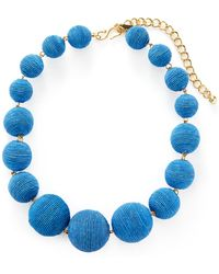 Kenneth Jay Lane - Thread Matte Wrapped Ball Station Necklace - Lyst