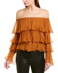 Balmain Ruffle Silk Blouse - Orange