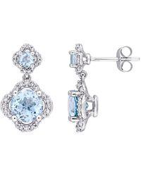 Rina Limor - 14k White Gold, Diamond & Topaz Earrings - Lyst