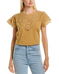 J.Crew Lace Scalloped T-shirt - Brown