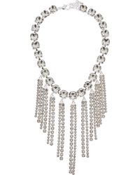 Kenneth Jay Lane Rhodium Plated Resin Necklace - Metallic