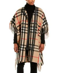 Burberry Check Leather-trim Wool-blend Cape - Natural