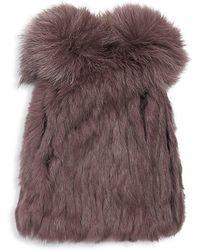 Annabelle New York - Rabbit Fur Knit Beanie - Lyst