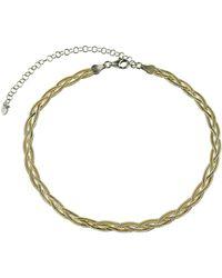 Argento Vivo 18k Over Silver Braided Herring Bone Choker Necklace - Metallic