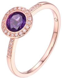 Diana M. Jewels . Fine Jewellery 14k Rose Gold 0.81 Ct. Tw. Diamond & Amethyst Ring - Pink