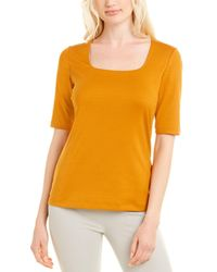Lafayette 148 New York Square Neck T-shirt - Yellow