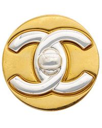 Chanel Two-tone Cc Pin - Metallic