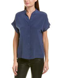 Lavender Brown Mock Collar Silk Blouse - Blue