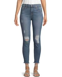 7 For All Mankind - Distressed Cropped Jeans - Lyst