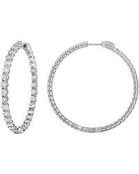 Diana M. Jewels . Fine Jewellery 18k 2.30 Ct. Tw. Diamond Hoops - Metallic