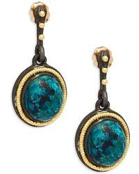 Armenta - Midnight Oval Yellow Gold Gemstone Drop Earrings - Lyst