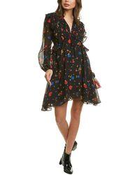 The Kooples Daydream Flowers Silk Mini Dress - Black