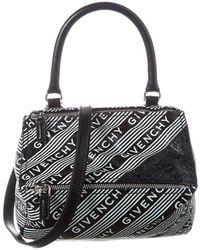 Givenchy Pandora Logo Small Leather Shoulder Bag - Black