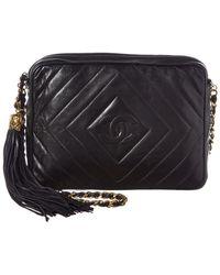Chanel Black Lambskin Leather Diamond Cc Camera Bag
