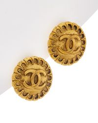 Chanel - Gold-tone Small Cc Button Clip-on Earrings - Lyst