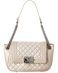 Chanel Beige Quilted Caviar Leather Boy Tote - Natural