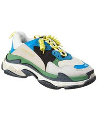 Balenciaga Triple S Mesh, Leather And Suede Trainers - Blue