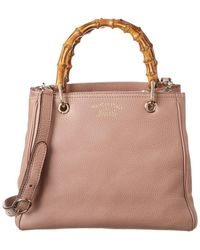 Gucci Pink Leather Small Bamboo Shopper