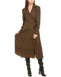 Gracia Diamond Print Wrap Dress - Brown