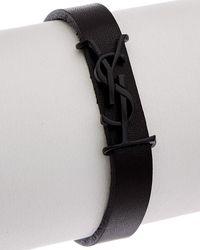 Saint Laurent Opyum Leather Bracelet - Black