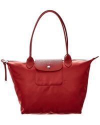 Longchamp Le Pliage Neo Small Nylon Long Handle Tote - Red