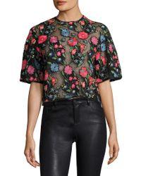 Manoush Garden Floral Embroidered Crop Top - Black