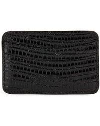 Saks Fifth Avenue Embossed Lizard Leather Card Case - Black