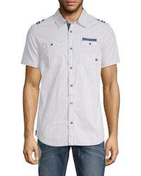 Buffalo David Bitton Serhat Printed Cotton Button-down Shirt - White