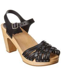 Swedish Hasbeens Braided Sky High Leather Sandal - Black