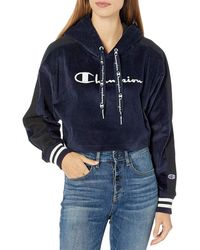Champion Corduroy Cropped Pull Over Hoodie - Blue
