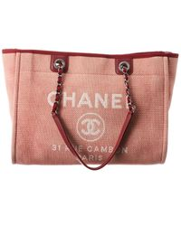 Chanel Red Canvas Large Deauville Tote