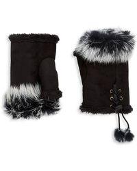 Adrienne Landau Rabbit Fur Lace-up Fingerless Gloves - Black