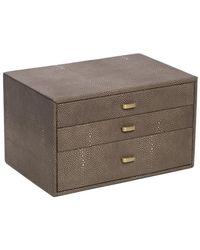 Bey-berk Three Level Leather Jewellery Storage Box - Multicolour