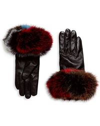 Surell - Chic Fox Fur Leather Gloves - Lyst