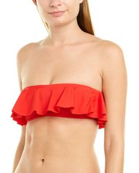 MILLY Cabana Ruffle Bandeau Top - Red